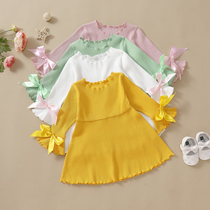 4 Colors Summer Kids Girls Solid Dress Article Pit Bow Flare Sleeve A-Line Princess Dresses Fashion Boutique Children Clothing M2220