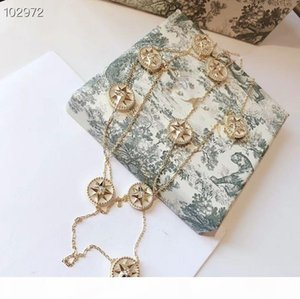 Luxury Rose Des Vents S925 Sterling Silver Crystal Engraved 9 PCS Compass Charm 90cm Long Sweater Necklace For Women Jewelry