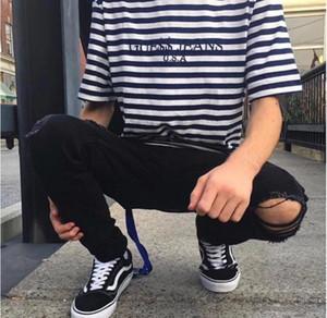 패션 vetements Oversize T 셔츠 Kanye 시즌 Tees 블랙 화이트 힙합 T 셔츠 남성 Streetwear Rocky David 최대한 빨리 스트라이프 자수 탑스