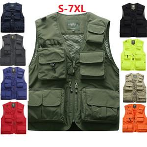 Pesca Coletes Quick Dry respirável multi bolsos de malha Vest casacos sem manga de descarga Fotografia Caminhadas Vest Peixe S-7XL