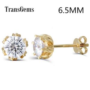 Transgems Çiçek Kadınlar CJ191203 için 14K 585 Sarı Gold'un 2ctw 6.5mm FGH Renk Moissanite Diamond Stud Küpe İçin Kadınlar Vida Geri Şeklinde