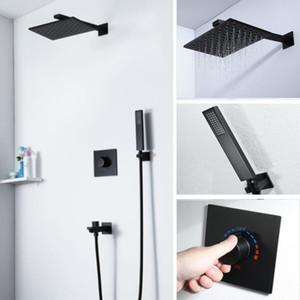2020 Sistema de lujo Negro ducha 10 pulgadas de lluvia Wall Mounted Panel de ducha caliente fría incrustado Caja de instalación sencilla de la válvula de desvío