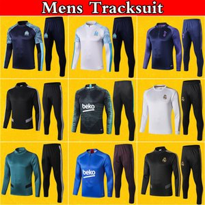 Mens Survêtement piede Barcellona Real Madrid OM Marsiglia tuta 2020 Soccer Training Suit 19 20 Winter Pantaloni felpati Sets