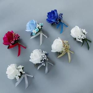 Venta caliente de 6 colores dama de seda rosa Ramillete Caballero Rose Boutonniere Artificia boda Ramos novio del padrino de boda Ramo de flores de seda