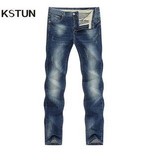 KSTUN Hommes Jeans Marque extensible Retro Bleu Slim Straight Regular Fit Casual Vintage Homme Pantalons Jeans Denim Grande Taille 40