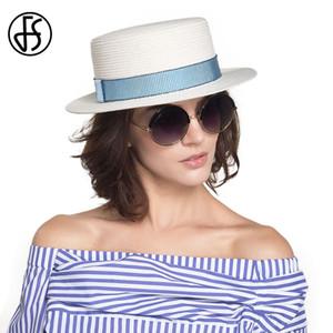 Venta al por mayor Moda Sombrero de Sol Para Mujeres Classic Panama Cap Fodora Summer Beach Visor Sombreros de paja Ribbon Round Flat Top Sombreros