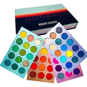 BEAUTY GLAZED Neue Ankunft 4 in 1-Farb-Platinen Lidschatten-Palette 60 Farben Neongelb Augen-Pigment Matte Glitter Eye Shadow