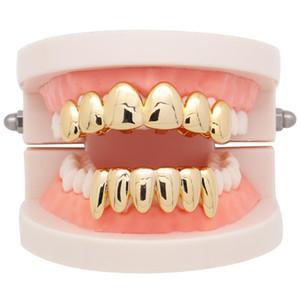 Nueva Dientes Grillz Hip Hop heló hacia fuera superior Parte inferior del diente fijó Para Hombres Mujeres Parrillas 3 colores irregular de la manera joyería de dientes Grillz