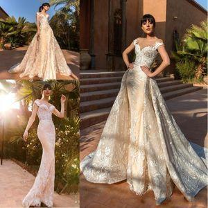 2019 Nouveau Design Superbe Robes De Mariée Sirène Avec Amovible Train Lumière Champagne Full Lace Plus La Taille Robes De Mariée