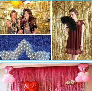 1x2m 1x3m la hoja de oro de la franja de la borla de la cortina de la malla guirnaldas fotografía de la boda Telón de fondo de cortina apoyos de la foto del cumpleaños decoración del partido