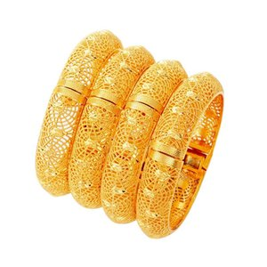 4 Pieces Lot Gold Color Dubai Bangles for Women Ethiopian Bracelets Set Middle East Wedding Jewelry African Gifts
