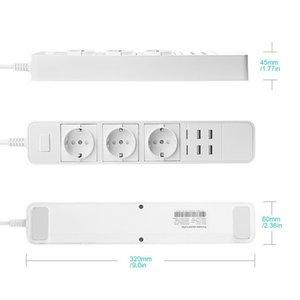 Kostenloser Versand Wifi Smart-EU Power Strip Surge Protector Mehrere Strom 3AC Steckdosen mit 4USB Ladestation Arbeit Alexa Google-Startseite