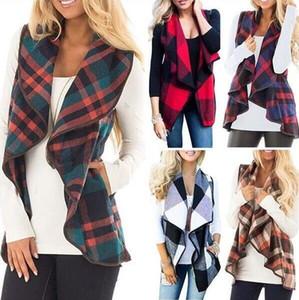 Überprüfen Sie Plaid Weste Frauen Cardigan Grid Winter-Sleeveless Westen gedruckt Mantel Hemd Revers Art und Weise beiläufige Taschen-Jacken Tops Blusas C6789