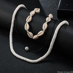 VSCO Ragazze Shell Necklace per il collare donne Boho Puka Shell Girocollo Set hawaiano Seashell cavo pendente Surfer Pearl collane Set Beach gioielli