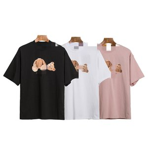 Palm decapitated bear pink Angels short-sleeved OS version double yarn pure cotton fabric letter printed T-shirt