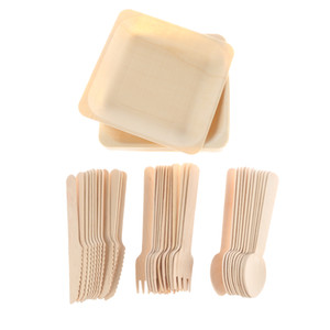48pcs Disposable Dinnerware Cutlery Set Wooden Dinner Utensils Salad Dessert Plates Spoons Forks Knives For Party Supplies