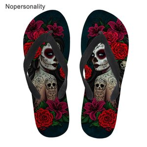 Nopersonality Gothic Girl Imprimer Flip Flops Femmes Casual plage Flats lumière Chaussons femme crâne femme femmes volte-face