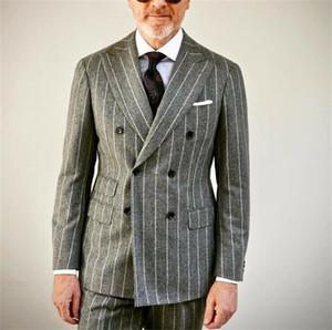 Ternos dos homens do casamento da listra Grey Slim Fit Noivo smoking para homens Two Pieces Groomsmen Terno Blazer formal Prom casacos de negócios Pants