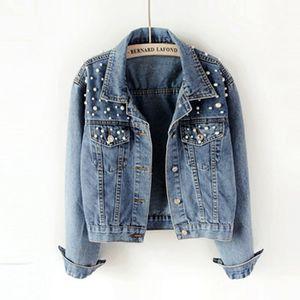 2019 джинсовая куртка Boyfriend Женские жемчужины Крупные джинсовые куртки Урожай с длинным рукавом Повседневное пальто Дамы Однобортный бомбер