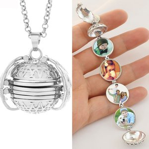 Double Fair Magic 4 Photo Pendant Locket Necklace Memory Floating Angel Wings Family Pictures Put The Necklace Jewelry KAN003