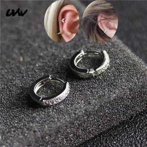 2pc Shinning Samll cuivre ronde CZ Hoop Huggie superposable Eariings Helix Cartilage Bijoux Body Piercing pour les femmes d'argent UVW260