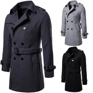 Erkek Sonbahar Kış Yeni Artı boyutu Uzun Trençkot Yünlü Kumaş Palto Siyah Gri Renkler Trençkot