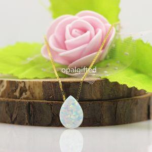 1 pc 8 * 11mm Poire Pierre Blanc Opale De Feu Pendentif Colliers Pour Femmes 925 Sterling Argent opale poire cabochon Choker Bijoux Cadeau