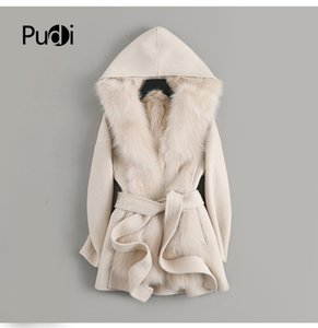Women real wool Fur coat jacket lady female natural fur lining with hood Winter long double face coats parka trench z19168