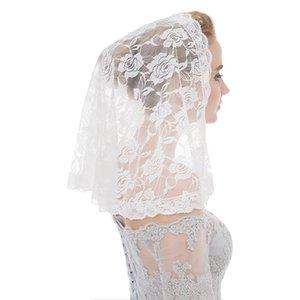 Brides için Kısa Omuz Uzunluk Beyaz Siyah Dantel Mantilla ve Katolik Veils Tek Tier Gelin Duvağı