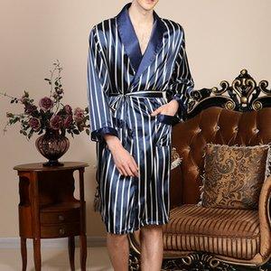 2020 Весенняя мода Пижамы мужские шелковый атлас пижамы наборы Robe Полосатый Длинные рукава Халат шелковый Кимоно Night халата