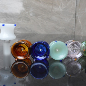 Colorful Handmade Pyrex Glass 14MM 18MM Male Interface Joint Portable Bong Waterpipe Handpipe Hookah Smoking Bowl Oil Rigs Container DHL