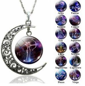 Alta Qualidade 12 constelações do Zodíaco Sinais de vidro Dome Lua crescente Colar moda jóias Câncer Leão Presente de aniversário Mulheres Áries Gêmeos