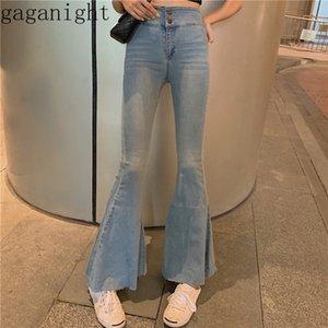 Gaganight Vintage Moda Kadınlar Flare Uzun Kot Yüksek Bel Kore Casual Skinny Jeans Pantolon Yeni Bahar Sonbahar Denim Pantolon