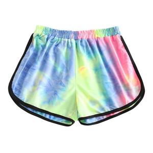 de las mujeres del teñido pantalón corto mujeres de cintura alta Pantalones cortos para correr verano de las mujeres casual Pantalones polainas Pantalones cortos