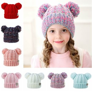 Kid Knit Crochet Beanies Hat Girls Soft Double Balls Winter Warm Hat 12 Colors Outdoor Baby Pompom Ski Caps TTA1598