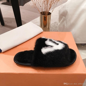 Heiße Art Lastest Fuzzy bequeme flache Hausschuhe außerhalb oder zu Hause aus echtem Leder Warm Voll Nerz Haarspangen Mules Frauen offen Zehehefterzufuhren