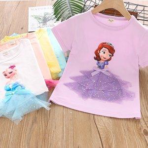 2020 Cross-Border Hot Selling Meninas Stereo Brasão Princesa T-shirt Top Childrens bebê Princesa Aisha shirt Base de Dados