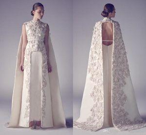 Arabic Wedding Dresses Zuhair Murad High Neck Long Gowns Applique Sheath Pageant Split Front Formal Bridal Dress vestido de novia