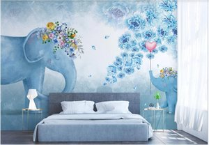 WDBH 3d wallpaper custom photo Nordic hand-painted elephant flower children bedroom living room TV background wall wallpaper for walls 3 d