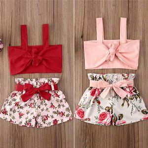 INS été enfants bébé filles short ensemble deux pièces fleurs floral bowknot costume vêtements set beach party Survêtement manches filles de la mode D6416
