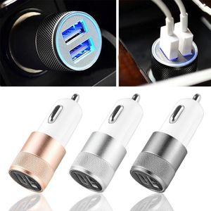 DHL 빠른 USB 자동차 충전기 듀얼 2 포트 유니버설 감지기 ipad 2 3 4 5 알루미늄 2 포트 미니 어댑터 12v 2.1A 삼성 s6 s5 용 1.0A