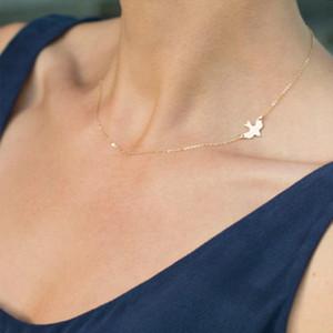 cadeau simple bijoux en acier inoxydable pour collier de chaîne clavicule féminine colombe de la paix oiseau courtes femmes