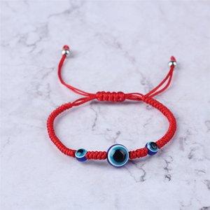 منسوجة يدويا سوار محظوظ سوار الكابالا سلسلة الأحمر الموضوع همسة أساور الأزرق التركية عين الشر سحر المجوهرات فاطمة سوار UFJ793