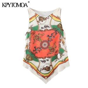 KPYTOMOA Kadınlar 2020 Moda Zincirler yazdır Asimetrik Bluzlar Vintage O Boyun Kolsuz Bayan Gömlek blusas Şık Tops