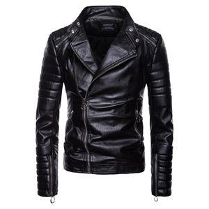 Men's Fur & Faux Black Men Leather Jacket Zippers Winter Casual Motorcycle PU