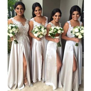 High Quality A-line Long Bridesmaid Dresses Scoop Neck Sleeveless Side Split Evening Party Gown Satin Floor Length Formal Wear