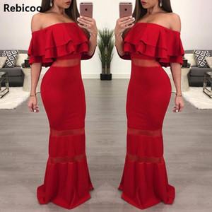 Rebicoo atractivo de las mujeres formal elegante del partido vestidos de rojo volante Hombro sin espalda bodycon vestido del lápiz del verano vestido maxi de Boho
