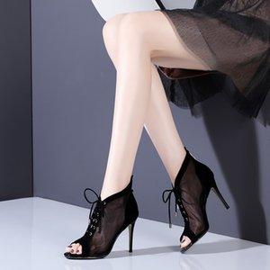 botas de malla botines de verano para mujer Botas de encaje ahueca hacia fuera Tacones altos atractivos Punta abierta Sandalias Rome Cool zapatos de mujer transpirables