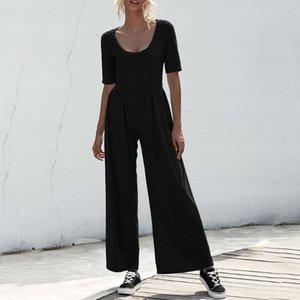 2020 Summer Fashion Half Sleeve Wide-leg Jumpsuit Women Casual Soild Color Round Neck Ankle-Length Loose Black Playsuit D30