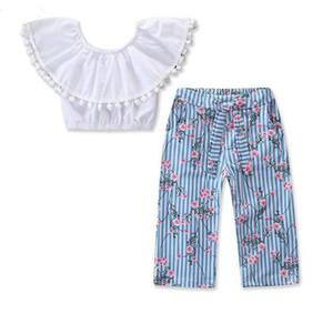 Nuevo conjunto de ropa para niños niñas moda explosión bola bola blanca palabra hombro camisa + floral pantalones anchos de la pierna